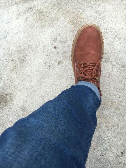 寻梦者 皮鞋男鞋子男士商务休闲鞋大头英伦工装鞋耐磨圆头增高潮流牛津底 红棕色 40码 晒单图
