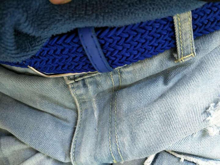 赠卡包南极人韩版腰带男士弹力皮带帆布 男女款针扣松紧潮裤带 帆布皮带编织腰带皮带 休闲百搭 天蓝 晒单图