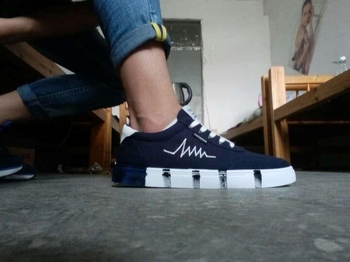 休闲鞋男鞋夏季板鞋男士帆布鞋涂鸦个性心电图韩版潮流时尚户外运动青少年学生鞋 7610蓝色 42 晒单图