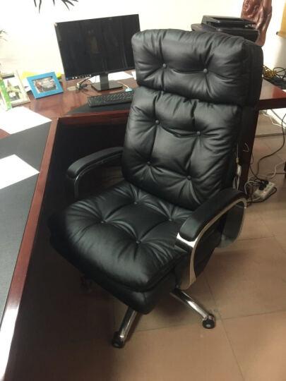 品仪电脑椅家用真皮老板椅可躺办公椅大班椅升降转椅子A020 高端版-魔力黑(头层牛皮)揉捏按摩+银色扶手 晒单图