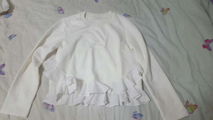 Five Plus新女秋装纯色棉质拼接荷叶边宽松圆领长袖T恤2HF4020890 米白010 L(170/92A) 晒单图