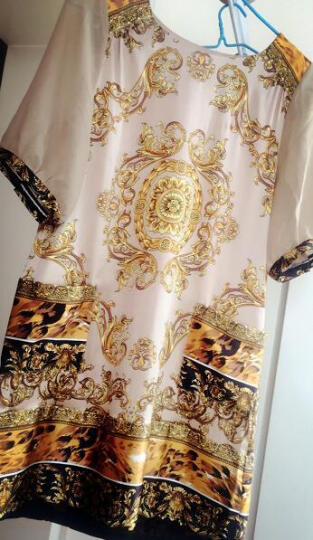 看供货商夏天上架茉蒂菲莉 真丝连衣裙2017新款夏印花宽松大码桑蚕丝女装 300+ 香槟色 L 晒单图