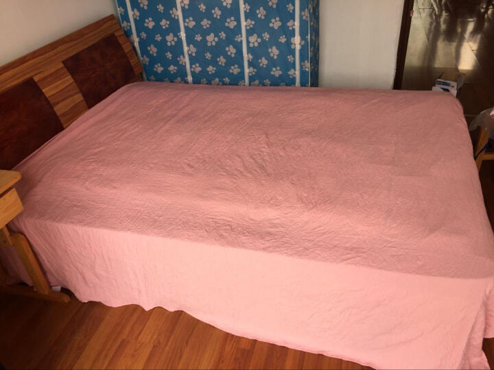 奥米拉纯棉四件套床上用品纯色全棉床单被套床品套件 雪莉尔红 标准号(200*230cm) 晒单图