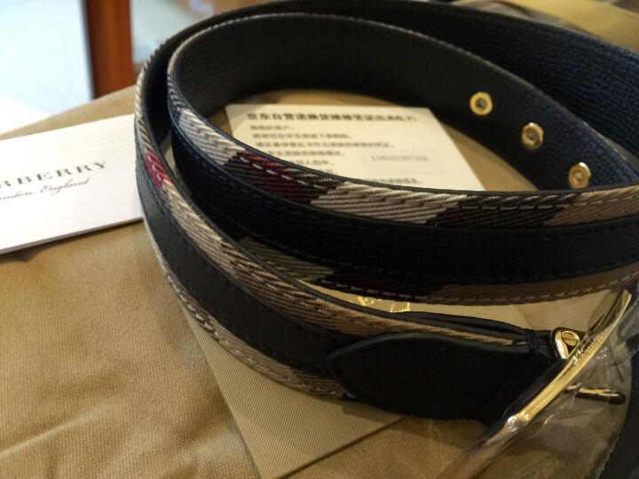 BURBERRY 巴宝莉/博柏利 女款驼色红褐色格纹织物配皮皮带腰带 40420281 95cm 晒单图