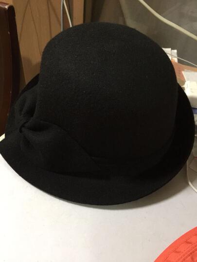 布塔帽子女秋冬季小礼帽羊毛呢帽冬天时装帽蝴蝶结帽子 秀红色 (56cm-58cm) 晒单图
