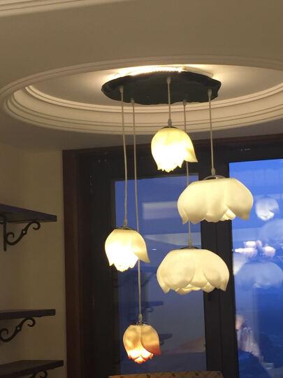 比月 新中式餐厅客厅树脂莲花灯吊灯 现代简约灯饰卧室具多头可选佛教佛堂创意楼梯长吊灯6368 十头[白色A款] 晒单图