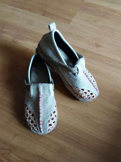 欧语伊依 夏款老北京亚麻布鞋镂空透气手工编织民族风女拖鞋 TCX 红色 35 晒单图