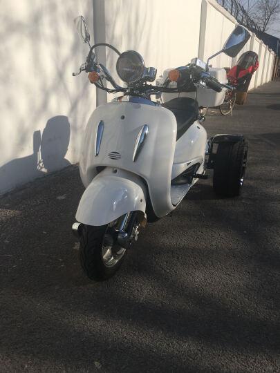 菲尔斯 大龟王电动摩托车电动三轮摩托车老年代步车电瓶助力车踏板电摩 蓝 色 1000W电机差速器后桥-14寸铝合金轮毂 晒单图
