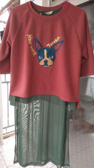 森宿 -世界是你的 新款春装 文艺趣味图案装饰前短后长宽松T恤 2714078 巧克力 S 晒单图