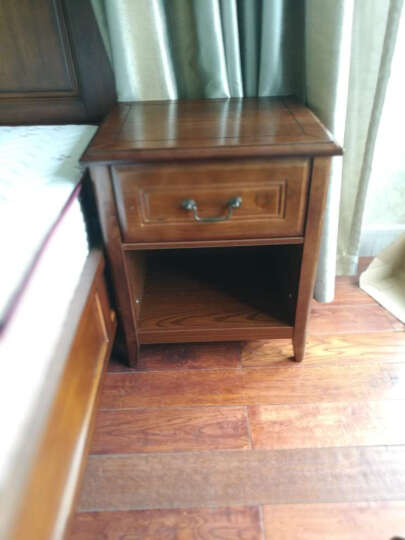 LAGO 床头柜 美式实木床头柜 简约欧式床头柜 储物柜卧室单抽床头柜特价美式乡村卧室家具 单抽床头柜*2 晒单图