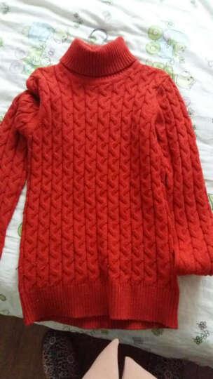 恒源祥 男童毛衣高领套头针织衫提花儿童女童线衣冬中大童打底衫 桔色男女同款 140 晒单图