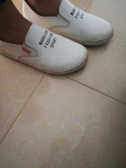 回力童鞋儿童帆布鞋男童潮白鞋女童PU皮面板鞋一脚套宝宝鞋 白色 36 晒单图