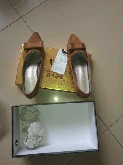 莱卡金顿单鞋女2018春夏季新款尖头方跟一字式扣带包头女鞋防水台女鞋子 LK65L10P银色 37 晒单图