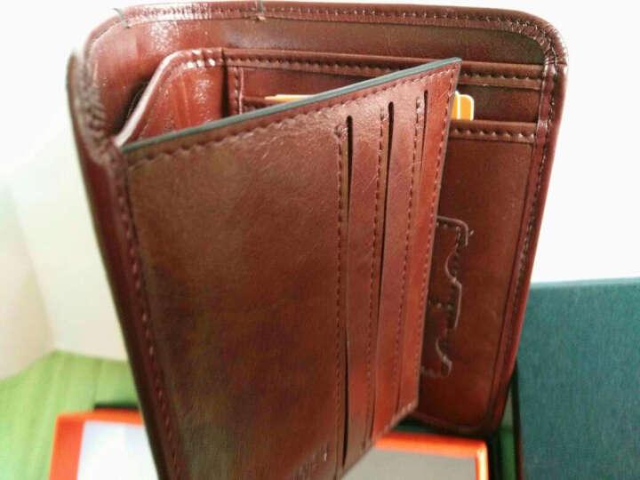 老人头(LAORENTOU)钱包男士短款真皮头层油蜡牛皮男士钱夹大容量驾照卡包 329J002L5E土黄色 晒单图