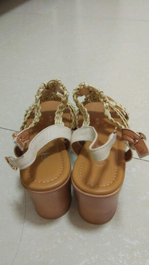 LESELE/莱思丽新款夏季牛皮女鞋 露趾粗跟鞋搭扣粗高跟凉鞋女QEH71-LB0195 驼色 35 晒单图