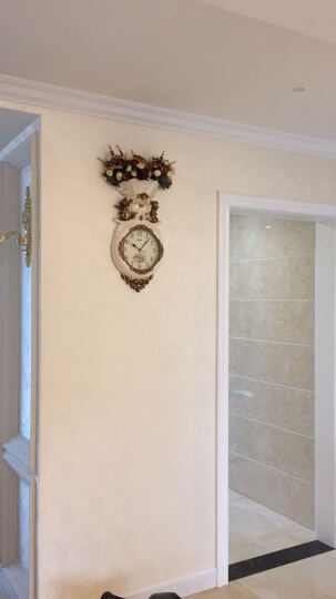 英伦欧堡 家居墙上装饰品创意艺术挂钟 欧式复古客厅钟表挂饰墙饰壁饰花艺 H217FS 晒单图