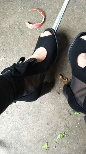 2017粗跟鱼嘴高跟鞋 新款蕾丝凉鞋女单鞋 时尚浅口套脚短靴女鞋粗跟休闲鞋女鞋 湖蓝色 40 晒单图
