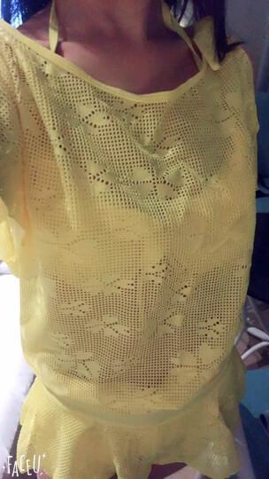 鼠爱爱 泳衣女新款分体裙式三件套显瘦聚拢钢托遮肚比基尼温泉泳装 黄色 M 晒单图