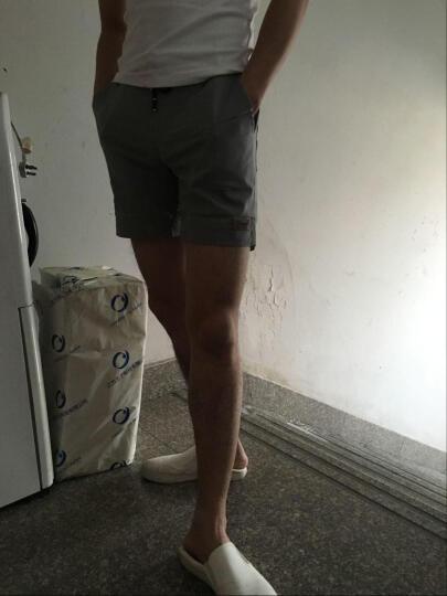 吉马克沙滩短裤男2018夏休闲五分裤修身运动休闲纯色三分裤 黑色 XL 晒单图