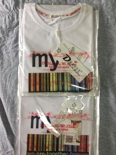 一寸相思 2017春夏新款情侣装 短袖T恤 套装印花纯棉 白色短袖+黑色短裤 男M (建议115-130斤穿) 晒单图