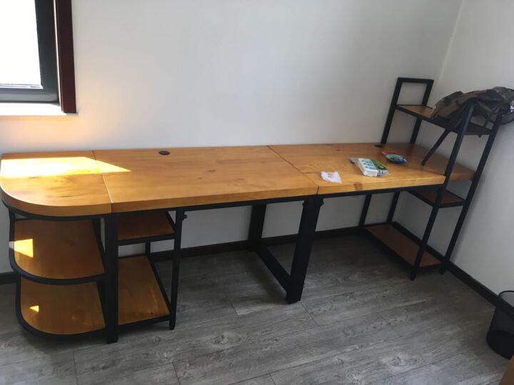 率森家具 北欧创意实木单双人电脑桌台式家用复古办公桌椅美式铁艺现代简约松木带主机托笔记本书桌书架组合 D款:长340宽70高75cm 晒单图
