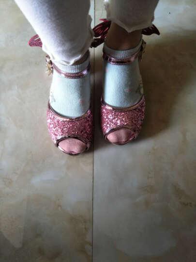 童鞋新款女童闪亮蝴蝶鱼嘴单鞋凉鞋小女孩冰雪奇缘艾莎舞蹈高跟鞋名媛公主鞋 蓝色凉鞋 26(内长16.4cm) 晒单图