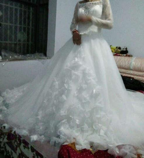 名门新娘婚纱礼服 新娘 长拖尾婚礼一字肩婚纱齐地 夏季婚纱2512 拖尾 L 预售二十天 晒单图