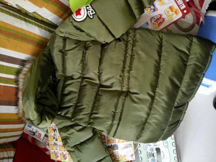 淘气密码童装 男童羽绒棉衣 2016冬装新款 儿童中长款外套 冬季保护加厚棉袄 军绿色 160码 晒单图