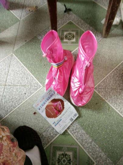 防水防雨鞋套女男高筒雨鞋防滑加厚底耐磨雨靴套儿童鞋套 加厚款红色S-35-36码 晒单图