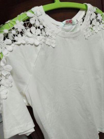 时愿 短袖T恤女2017夏季新款大码女装宽松显瘦蕾丝韩版打底衫女式t恤上衣XT8825 粉色 XL 晒单图