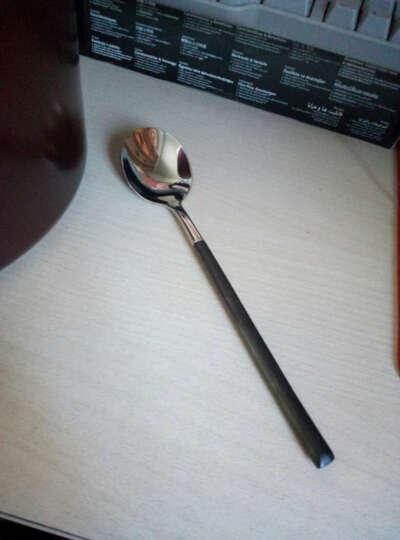 亿嘉IJARL 西餐餐具 不锈钢磨砂勺子甜品咖啡勺饭勺便携餐具套装 黑银 汤勺 晒单图