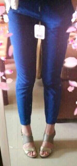 蓝道夫凉鞋女2018年夏季新款皮鞋高坡跟罗马鞋性感韩版脚踝扣带魔术贴金色露趾AR6C1060 棕色+白色7L 35/225 晒单图