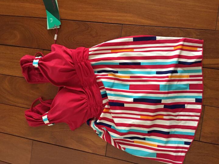 奥凯莱 夏季新款女士连体泳衣裙式保守泳衣比基尼平角裤宽肩荷叶边性感显瘦遮肚女式温泉泳衣大码 A0191 玫红 L 晒单图