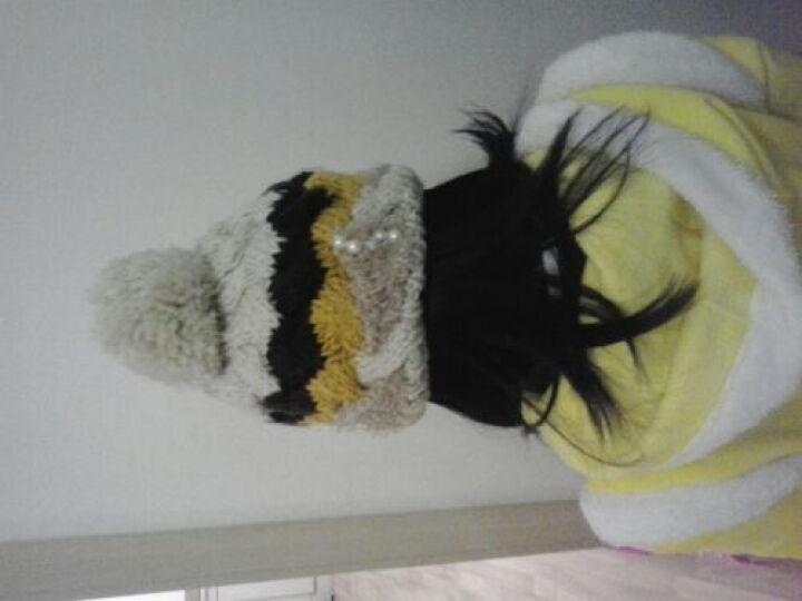 帛拉拉 新款甜美可爱拼接色毛线帽女 秋冬天韩版潮针织帽可爱蝴蝶结套头帽子 8字毛线帽粉色 松紧 晒单图