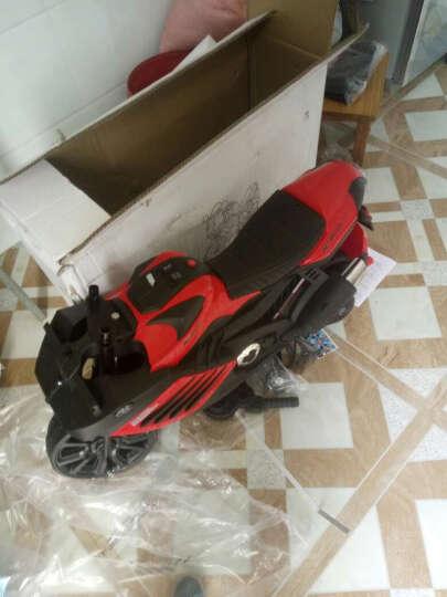 宝贝虎 新款儿童电动车三轮车摩托车宝宝可坐玩具车小孩电瓶车童车1-8岁 红色+双电双驱+音乐+皮座位 晒单图