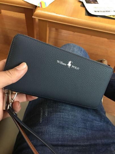 英皇保罗POLO男士长款钱包 钱夹头层牛皮时尚商务多功能包手机包票夹拉链手包 全国联保 蓝色 晒单图