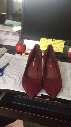 plover高跟鞋女2017新款女鞋反绒皮高跟细跟尖头单鞋女 黑色 36 晒单图