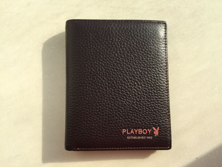 花花公子playboy 男士钱包短款牛皮革竖款卡包多功能多卡位休闲钱夹PAA5982-6C 啡色 晒单图