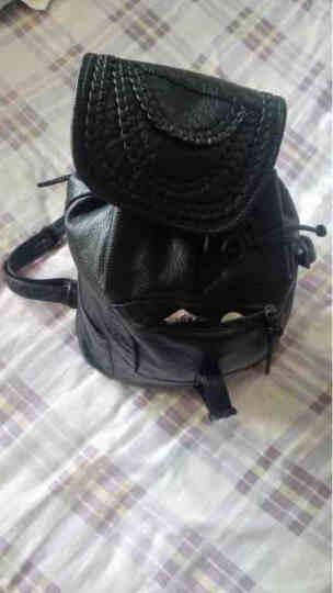 巴铂 双肩包女2018新款日韩风范时尚潮流经典款软皮潮流背包 黑色 拉链款(加侧袋) 晒单图