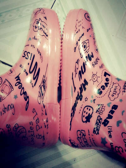 韩版雨靴女夏季防水雨鞋中筒防滑成人女水靴时尚平底学生儿童防水鞋套鞋全冬季加绒 蓝色爱心 35 晒单图
