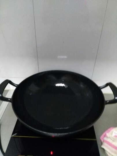 铸彩(LINTORE) 铸彩 铸铁炒锅 无油烟 无涂层 铁锅 不粘锅 铸铁锅 电磁炉通用 新款36cm炒锅 木盖 晒单图