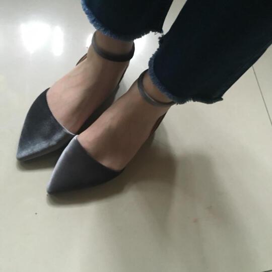 卓诗尼单鞋2017新款秋鞋粗低跟复古套脚女鞋商场同款 黑色 36 晒单图