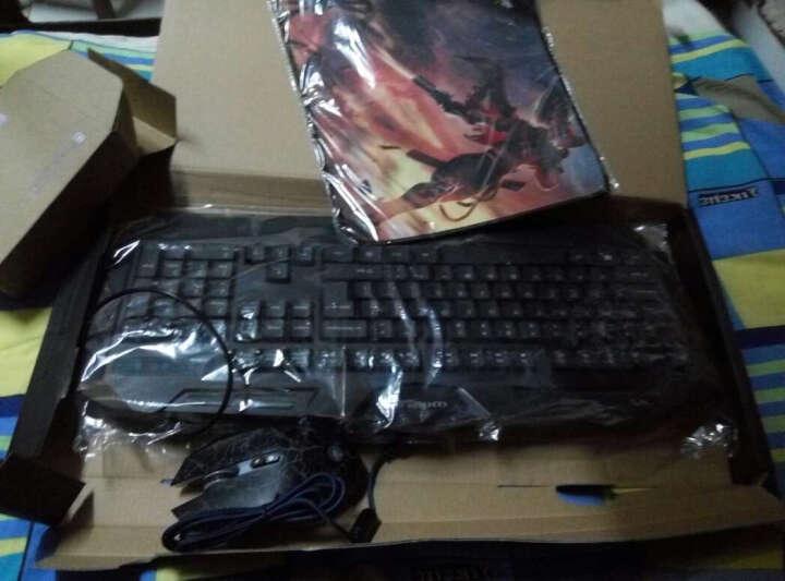 炫光键盘鼠标套装有线笔记本台式电脑USB游戏键鼠套装发光CF无声静音鼠标套件机械手感键盘 S8静音鼠标白+K610A多彩RGB键盘银白 晒单图