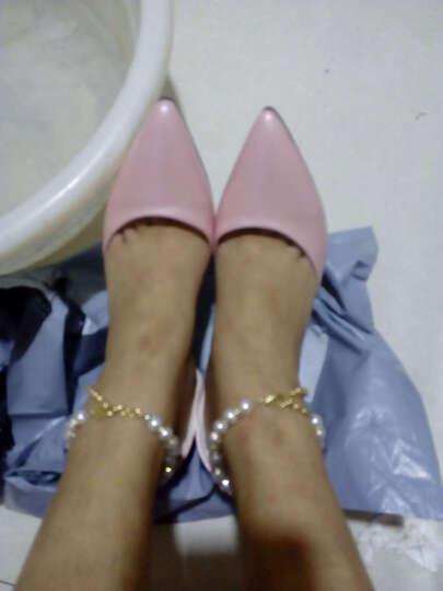 诗紊 2018春季新款单鞋 浅口时尚甜美高跟细跟尖头侧空珍珠链子女 黑色 37 晒单图
