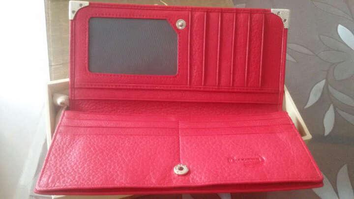 鳄鱼恤新款女钱包 女士经典简约长款牛皮糖果色女钱夹韩版卡包手拿包抖音同款 16317050红色升级版 晒单图