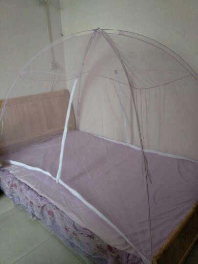 蒙古包蚊帐免安装 有底单双人可折叠蚊帐1.8米床学生宿舍1.5米魔术纹帐 1.2米床 紫色 晒单图