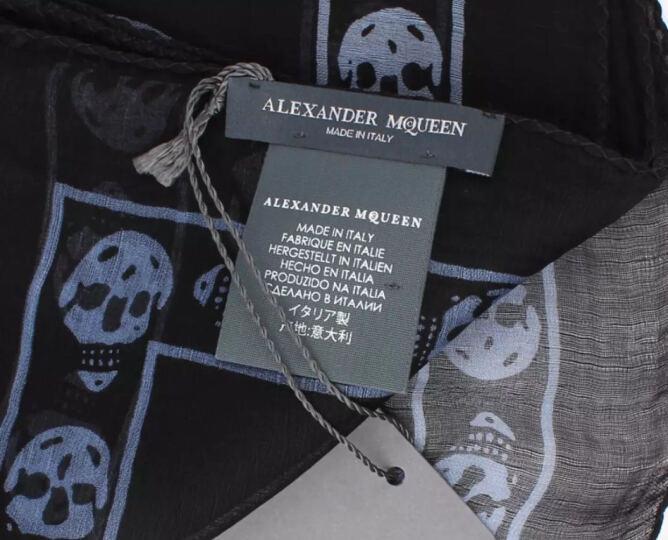 亚历山大.麦昆(ALEXANDER MCQUEEN)骷髅头丝巾围巾 黑色 110640 3Q012 1069 晒单图