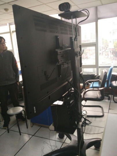 卡步特 电视架 电视挂架 移动推车 视屏会议展示架 落地支架 T001银色加高双托32-65英寸 晒单图