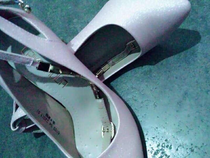 莱卡金顿高跟女鞋2017春夏新款浅口圆头单鞋 高跟女鞋子 细跟四季鞋 粉色 36 晒单图