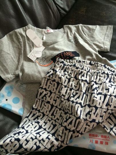 南极人儿童套装短袖短裤两件套纯棉内衣男女童宝宝睡衣夏装家居服 男款章鱼深灰 XXXXL(150cm) 晒单图
